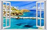 Hafen Schiffe Griechenland Kreta Wandtattoo Wandsticker Wandaufkleber F0461 Größe 70 cm x 110