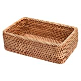 jeerbly Rechteckiger Weidenkorb Tablett Rattan Handgewebte Wicker Obst- und Brotbehälter Picknickbox Wohnkultur