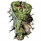 Wandaufkleber, 3D Avengers Hulk Peel Wandaufkleber Aufkleber Tapete Wandbild Kunst Dekor Kinderzimmer, 60X90Cm