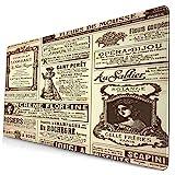 Nettes Mauspad ,Vintage Newspapers Historisches Monster Wordpress,Rechteckiges rutschfestes Gummi-Mauspad für den Desktop, Gamer-Schreibtischmatte, 15,8 'x 29,5'
