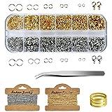 Fangehong 1040 STK Biegeringe Spaltringe, 2 Gliederkette mit Kettenringe Karabinerverschlüssen Pinzette, 4-10 mm Metall-Biegeringen für Basteln Halsketten Armband, Gold & Silber
