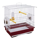 Ferplast Käfig für Kanarienvögel und kleine Exoten Giusy Rechteckiger Vogelkäfig mit Zubehör und drehbaren Futternäpfen, aus stabilem, weiß lackiertem Metall, rotem Kunststoffboden, 39 x 26 x 37