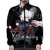 OJKYK Unisex Mode Casual Sweater 3D Drucken Seven Deadly Sins Lange Ärmel Stehkragen Reißverschluss Outerwear Jacket Sweatshirt Cosplay Tops,A,3XL