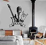 Fototapete Rock'N' Roll Wandtattoo Musik Rock Gitarre Mikrofon Bar Music Room Interior Decor Vinyl Wandaufkleber Wandbild Kunst Cool 57 * 62Com