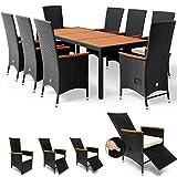 Deuba Poly Rattan Sitzgruppe 7cm Auflagen Fuß-/Rückenlehne Verstellbar 8 Stühle Gartentisch Armlehnen Holz Gartenmöb