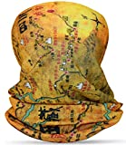 Multifunktionstuch Nahtloses Bandana Atmungsaktiv Halstuch/Schal Kopftuch Stirnband Schlauchtuch Laufschal für Radfahren Klettern Motorradfahren Outdoor Landkarte-Muster Map-Tibet/Sichuan Vintage