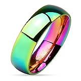 57 (18.1) Bungsa® Regenbogen Ring Edelstahl klassisch bunt für Damen & Herren 49-67 (Fingerring Partnerringe Verlobungsringe Trauringe Damenring Chirurgenstahl Frauen Männer)