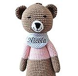 ds-handmade handgefertigte Baby Spieluhr - mit Namen personalisierte Baby Geschenke Mädchen - Teddy - Melodie:  Lalelu  - 24 cm - Braun/Rosa