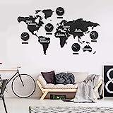 3D Holz Weltkarte mit Uhren Set Schwarz 190x120 cm MDF Weltzeituhren Wanduhren Holzbild Kontinente Länder Boho Deko Wohnzimmer