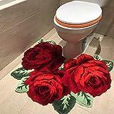 ABREEZE Shaggy, rutschfeste Badematte und WC-Vorleger in Rosenform, rutschfest, florale Rosen, Badezimmer, Plüsch-Teppich, maschinenwaschbar, rot