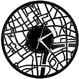 Rekord Wanduhr London Karte Vinyl Wanduhr Stadt Skyline Vintage Home Wohnzimmer Dekoration 30 × 30Cm