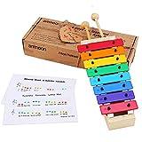 Glockenspiel für Kinder, ammoon Xylophon Holzspielzeug ungiftig Babyspielzeug mit 8 Tasten kompakte Größe mit Holzschlägel Percussion Musikinstrument Spielzeug Geschenk