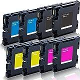 8x kompatible Druckerpatronen für Ricoh Aficio SG2100 SG2100N SG3100snw SG3110dn SG3110dnw SG3110n SG3110sfnw SG7100dn SG-K3100DN Black Cyan Magenta Yellow - Sparset KCMY GC-41 GC41 - Eco Office Serie