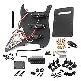 Adaskala Style E-Gitarren-Komplettset für DIY-Zubehör einschließlich vorverdrahteter Pickguard-Brücke, SSS-Pickups und sonstigem Zubehör, schwarz