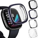 CAVN 4 x Displayschutzfolie kompatibel mit Fitbit Sense/Versa 3, vollständige Abdeckung, weiche TPU-Schutzhülle, Schutzabdeckung für Sense Smartwatch (schwarz/anthrazit/silber/transparent)