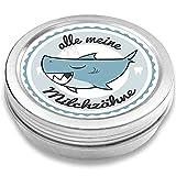 FANS & Friends Zahndose Made in Germany, Metall, direkt bedruckt, sicherer Schraubverschluss, Zahnfee Dose Jungen & Mädchen, Milchzahndose Hai