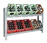 Getränkekistenregal Kastenständer 1030 x 1590 x 325 mm, 2 Ebenen, 100 kg Tragkraft/Ebene, Stecksystem, GRAU
