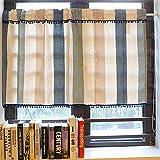 Küchenfenstertürvorhang mit Quastenbällen, kleinen Vorhängen im nordischen Stil, kurzen Streifenvorhängen aus Polyester- und Leinenmischungen mit Farbstreifen- 150x60cm