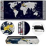 TRAVORLD   Weltkarte zum Rubbeln in Deutsch   (100x43cm) Ultrabreites, modernes und einzigartiges Design   mit nützlichem Zubehör   hoher Detailierungsgrad