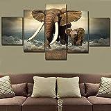 Lzusdv 3D Leinwand Bilder Tier Elefant Mutter Und Sohn Poster Wandbilder Moderne Bilder Wohnzimmer Gemälde Deko 5 Teile Bild Auf Leinwand Leinwandbilder XXL Poster Kunstdrucke Wandbild