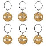 Schlüsselanhänger,50 Stück Nummer Schlüssel Anhänger mit Metaller schlüsselring ,Nummeriert ID Nummer Tags 30 mm Durchmesser,Zahlen 1-50 Gelb
