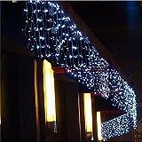 SMAA Solar-Vorhang-Schnur-Licht 300 LED-Fenster Lichterketten, 9.8 x 9.8 ft, Indoor Outdoor Dekorative Weihnachten Twinkle beleuchtet für Schlafzimmer, Hochzeit Kulisse, Terrasse und Mehr,Weiß