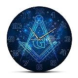 xinxin Wanduhr Freimaurer Logo Stille Nicht tickende Wanduhr Master Mason Home Decor Hängende Wanduhr Knights Templar Masonic Lodge Wandkunst