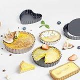 Snakell Tortenbodenform mit Antihaftbeschichtet Wellenrand Mini Quiche Backform für Kuchen, Pizza, DIY Eierkuchen Mini Tarteform Eierkuchenform Torteletts Törtchenformen