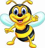 kleberio Aufkleber lustige Honig Biene 20 x 21 cm Sticker selbstklebend Autoaufkleber Bild Dekoration Wohnmobile Auto Motorradhelm Caravan Wohnwagen Moped Roller Motorrad Kindergarten Kita