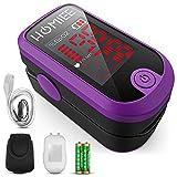 HOMIEE Pulsoximeter für Sauerstoffgehalt im Blut SpO2 und Herzfrequenz Pulsfrequenz Messen, Fingeroximeter mit LCD Bildschirm und Herzfrequenz Monitor für zu Hause