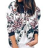 Ainiyo Winterjacke Damen warme Wintermantel Jacke Mantel Herstellergröße für Frauen Mädchen Tshirt Kleider S M L XL 2XL 3XL Damen Retro Floral Zipper Up Bomberjacke Freizeitmantel Outwear Mode Jacke