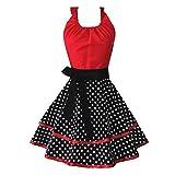 MLOPPTE Cotton Dot Fashion Sexy Schürze Home Kitchen Nagelstudio Arbeitsschürze rot-schwarz