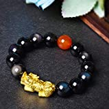 Plztou Feng Shui Rainbow Obisidan Vietnamesisch Gold Pixiu Pi Yao Armband Wohlstand Fünf Fu/Glück Schnitzen Achat Perle Heilung Talisman Stein Amulett Kristall Armband anziehen Glück Glück