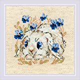 RIOLIS 1877 – Little Bunny – Kreuzstich-Set, 12,7 x 12,7 cm, Fadendichte 14, AIDA 10 Farben