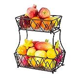 Obstkorb Metall, 2 Tier Obst Etagere Obstschale, Abnehmbar Gemüseregal Brotständer Regalkörbe Für Küche