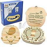 ZIIDOO Zahnbox Holz Milchzähne Box,Zahndose für Milchzähne aus Holz, Milchzahndose Zahnfee Geschenke für Mädchen und Jungen[Deutsch Version](Junge)