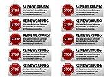 10 x Keine Werbung Aufkleber - Schild – Folie - Sticker (Stop Bitte Keine Kostenlose Zeitung, Flyer, Handzettel, Wurfsendungen, Wochenblätter, Werbung) für den Briefkasten - 10 Stück