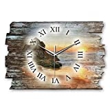 Kreative Feder Beach Landhaus Shabby Style Designer Wanduhr Funkuhr aus Holz *Made in Germany leise ohne Ticken WH014FL 40x27cm (leises Funkuhrwerk)
