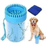 SUPWALL Hundepfotenreiniger mit Handtuch Hundezubehör Haustierpfotenreiniger, Tragbare weiche Silikon-Reinigungsmassagebürste für Hunde und Katzen,2 in 1 Aktualisierte V