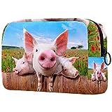 Make-up Taschen Tragbare Reise Kosmetiktasche Organizer Multifunktionskoffer Junge Schweine auf dem Bauernhof des Zauns mit Reißverschluss-Kulturbeutel für Frauen