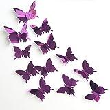 Meclelin Wandtattoo 12 STÜCKE 3D Schmetterlinge Wanddeko Aufkleber Abziehbilder Kunststoff Schmetterling Dekorationen Wand Dekor (Lila)