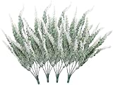Demic Künstliche Blumen Kunstblüten Beflockte Künstliche Blumen Lavendel Pflanze Kunstblumen Deko im Topf für Hochzeit Bankette Garten (Weiß)