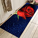 OPLJ Dunkelrote Rose Blume Fußmatten rutschfeste Küchenmatten Teppich Fußmatten Teppich Indoor Fußmatten Wohnkultur A5 40x120cm