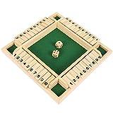 ATopoler Würfelspiel aus Holz, Gesellschaftsspiel, Klassisch, Shut The Box, 1-4 Spieler, Strategie, Holzbrett, Mini-Tisch, Lernspielzeug mit Freunden, Familien, Kinder (grün)
