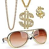 FLOFIA 4-er Set Dollar Kette Dollarzeichen Ring Rockstar Brille Rapper Set Schmuck Gangster 80er Outfit Herren Kostüm Hiphop Schmuck Gold Millionär für Fasching