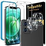 UniqueMe 5 Stück Schutzfolie kompatibel mit iPhone 12 Pro Max Panzerglas, 6.7 Zoll, 3 Schutzfolie mit 2 kameraschutz, 9H Härte Glasfolie, HD Klar Displayschutz, Blasenfrei, Kratzen
