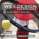 UV Filter 58 mm weildesign Slim XMC Digital Weil Design Germany * Objektivschutz * blockt ultraviolettes UV Licht * Frontgewinde * 16 Fach vergütet * inkl. Filter Box (UV Filter 58mm)
