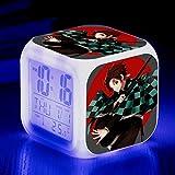 fdgdfgd Animierte Ofentür Tanjiro Bedruckte LED-Touch-Farblicht-Desktop mit Thermometer-Datumswecker