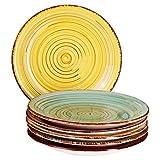 MamboCat Teller-Set Rimini für 6 Personen | Kuchenteller Rund | Ø 19 cm | Kleine Dessert-Teller | Premium Steingut-Speiseteller | Handbemalt | Mehrfarbig