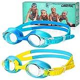 OMERIL Schwimmbrille, (2er Pack) Kinderschwimmbrille mit Anti-Fog-Linse, wasserdichte Schwimmbrille, weiche Silikon-Schwimmbrille mit tragbarer Tasche für 3-14 Jahre alte Mädchen Jungen Kinder
